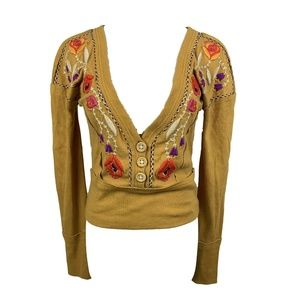 NEW Free People V-neck Golden Embroidered Pullover